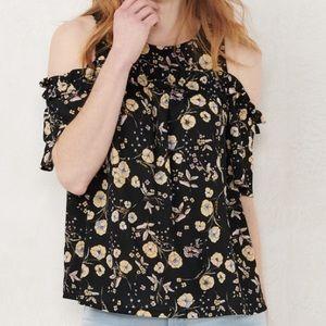 Lauren Conrad | Black Floral Cold Shoulder | Small